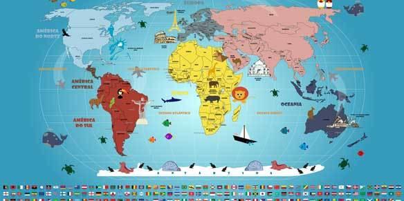 Mapa Mundi Infantil com Bandeiras