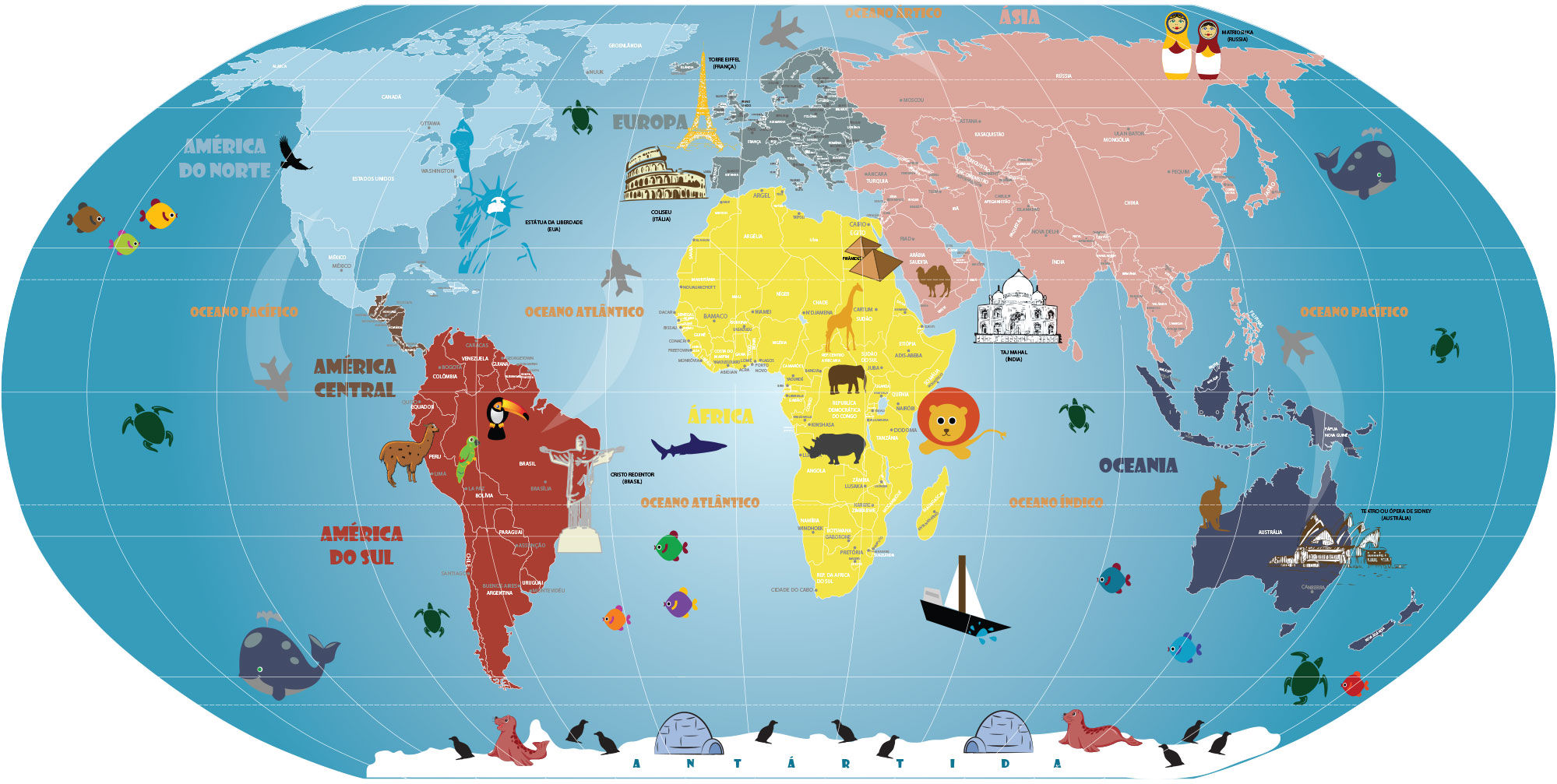 Artesanato Garrafa Pet Para O Natal ~ Mapa Mundi Infantil, adesivo artisticamente ilustrado