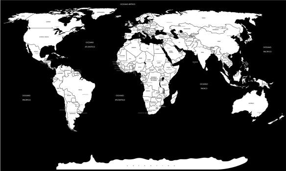 mapa mundi preto e branco com nome dos países e capitais