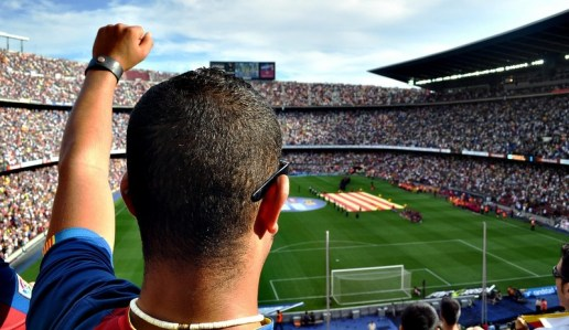 Barcelona Camp Nou has a capacity of 110,000 people and on every match practically every seat is taken -such is the passion for football shared by the Catalan people.