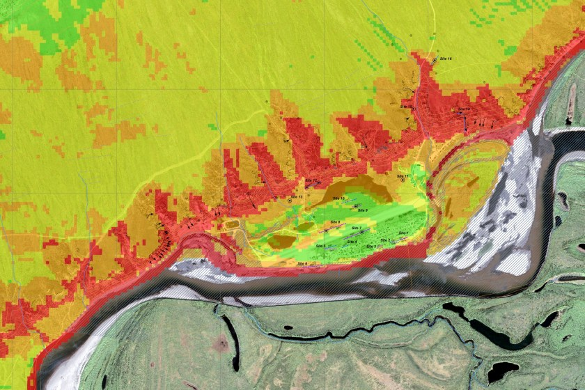 Old Crow Landscape Hazard Risk Map (detail).