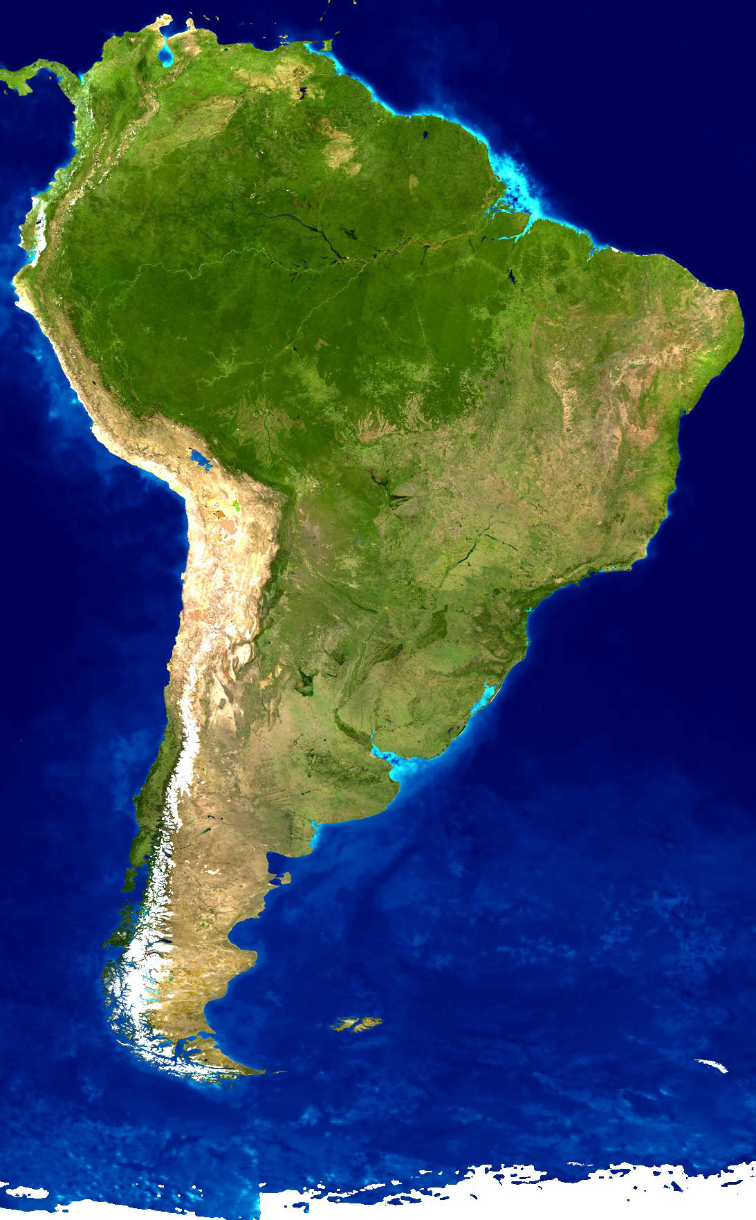 Detailed satellite map of South America   South America   Mapsland     Detailed satellite map of South America