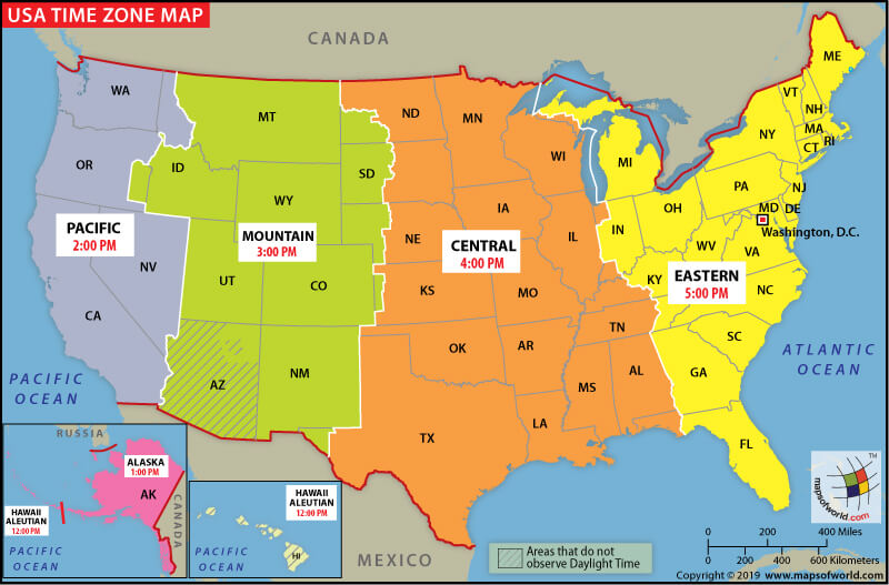 Current Dates And Times In US States Map Geography Blog US Maps - Usa map with states and timezones