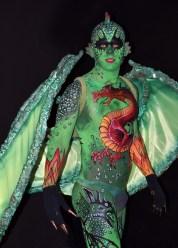 Maquillaje corporal Dragón carnavales Águilas 2º premio Beatriz Martínez