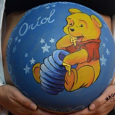 Maquillaje barriga embarazada Winnie the Poo