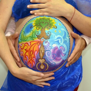 Body paint embarazada arbol vida