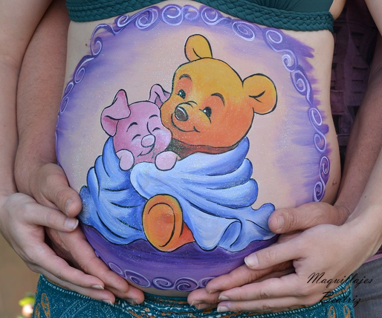 pintar maquillaje barriga Winnie Pooh con Piglet