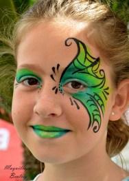 Maquillaje de fantasía en tonos verdes y amarillos