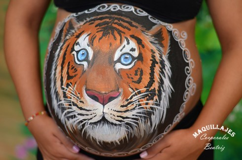 Belly painting tigre 1