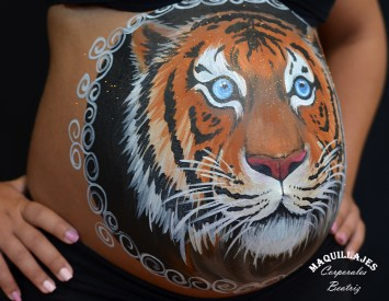 Belly painting tigre 3