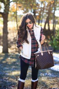 fall winter outfit plaid shirt vest with black leggings