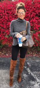 fall winter outfit sweater with black leggings and high boots