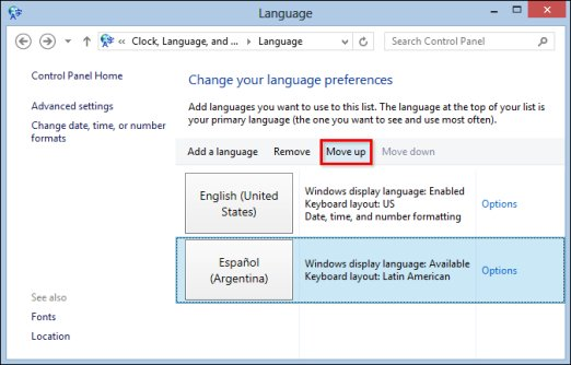 Image of Language window with Move up selected.