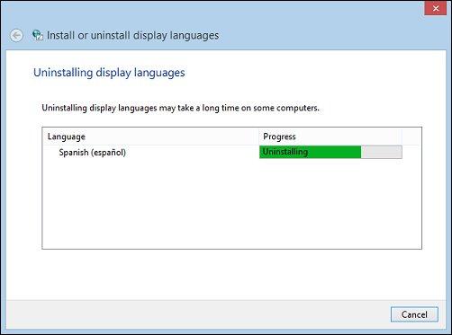 Image of Windows uninstalling a language pack