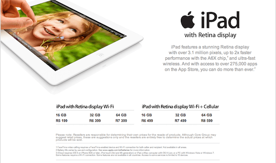 New iPad Retina & iPad Mini pricing annouced for South Africa