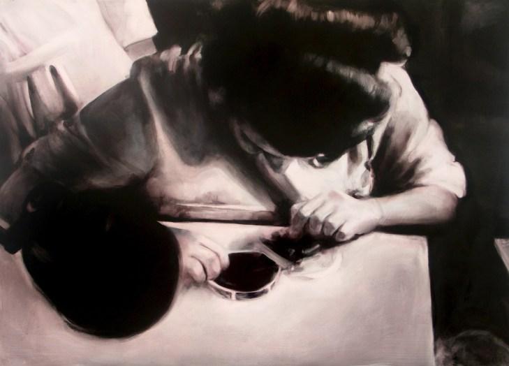 Sin título II (La trama). Óleo sobre tabla, 61 x 85 cm