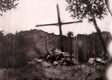 Sin título III (La trama). Óleo sobre tabla, 61 x 85 cm