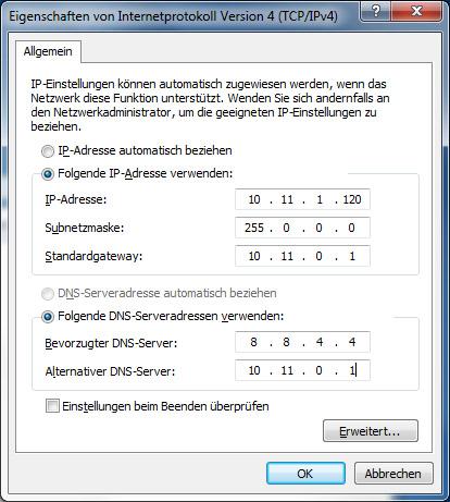 """Der """"Primary Server"""" wird als """"Bevorzugter DNS-Server eingetragen, der """"Secondary Server"""" als """"Alternativer DNS-Server"""""""