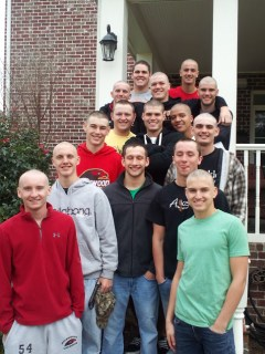 Friends of Sean Karl shave their heads as a symbol of love and support while he undergoes chemotherapy.