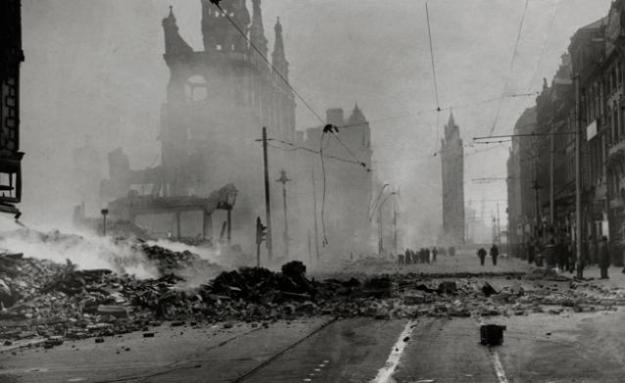 After the bombs dropped on Belfast in 1941.
