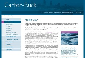 Carter-Ruck website with Guardian quote