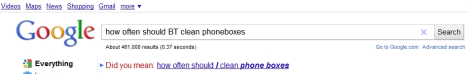 Google autocorrect for cleaning phone boxes