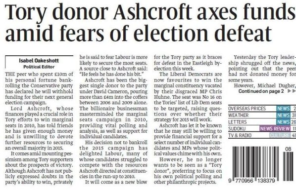 Ashcroft will not fund Tories - Sunday Times