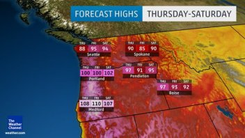 PACIFIC NORTHWEST HEAT, COOL CENTRAL, STORMY MIDWEST, FIONA BORN IN ATLANTIC