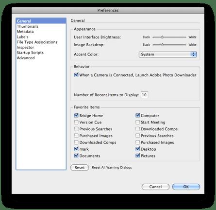 General Preferences in Adobe Bridge