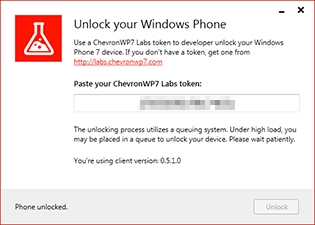 ChevronWP7, device unlocked