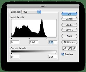 Adjusting levels using the histogram