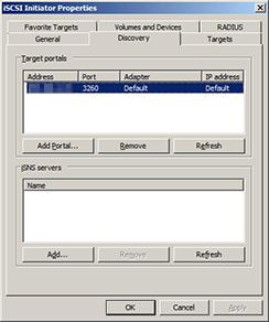 Windows iSCSI initiator Discovery tab