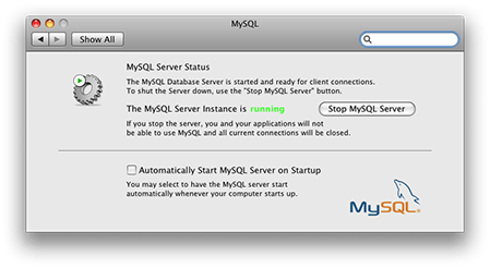 MySQL running in OS X