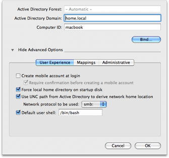 Mac OS X 10.5 Directory Utility - Active Directory User Experience options