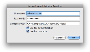 Mac OS X 10.5 Directory Utility - Active Directory authentication