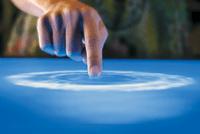 Finger creating surface ripple