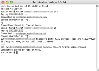 Using telnet to test port access for IMAP and SMTP