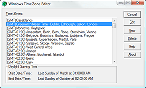Windows Time Zone Editor showing the settings for GMT