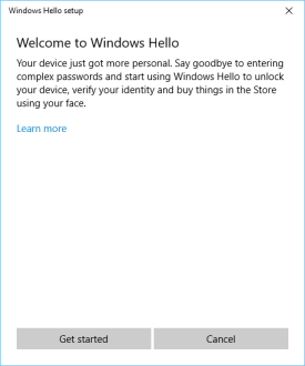 Windows Hello setup - welcome!