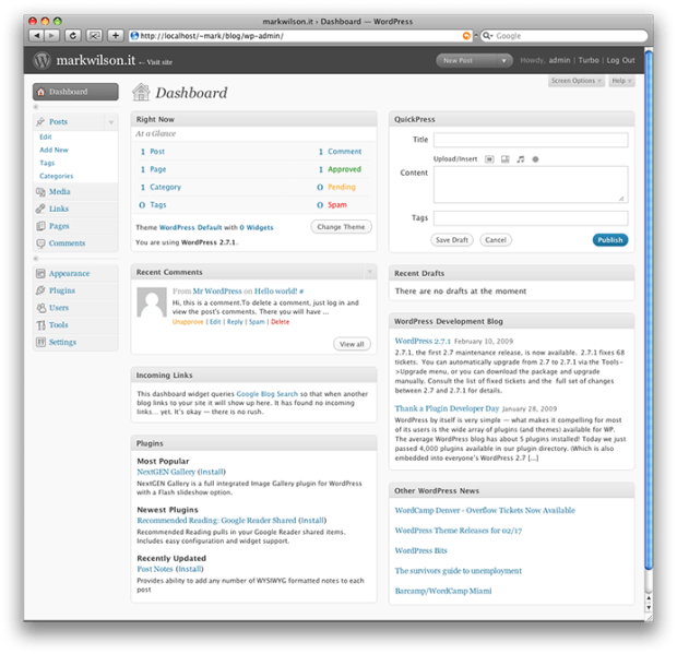 WordPress fresh out of the box (dashboard)