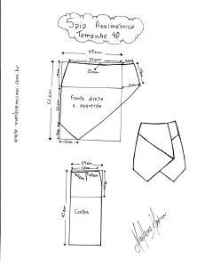 Molde de Saia Assimétrica tamanho  40.