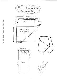 Molde de Saia Assimétrica tamanho 42.