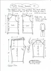 Esquema de modelagem de pijama unisex tamanho 48.