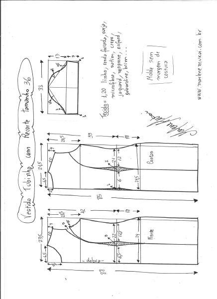 Esquema de modelagem de vestido tubinho com recorte tamanho 36.