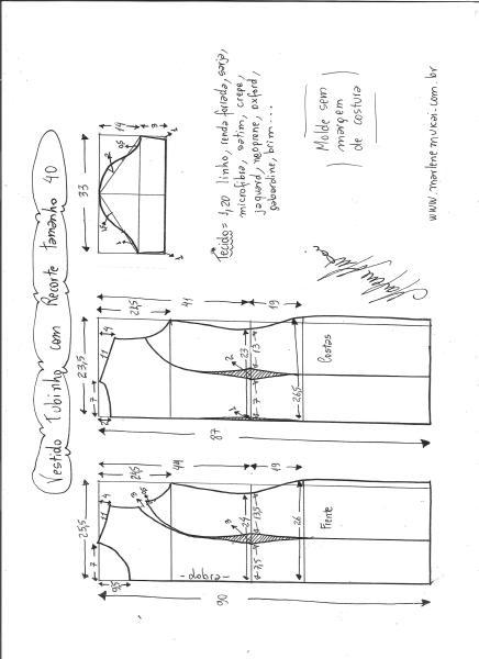 Esquema de modelagem de vestido tubinho com recorte tamanho 40.