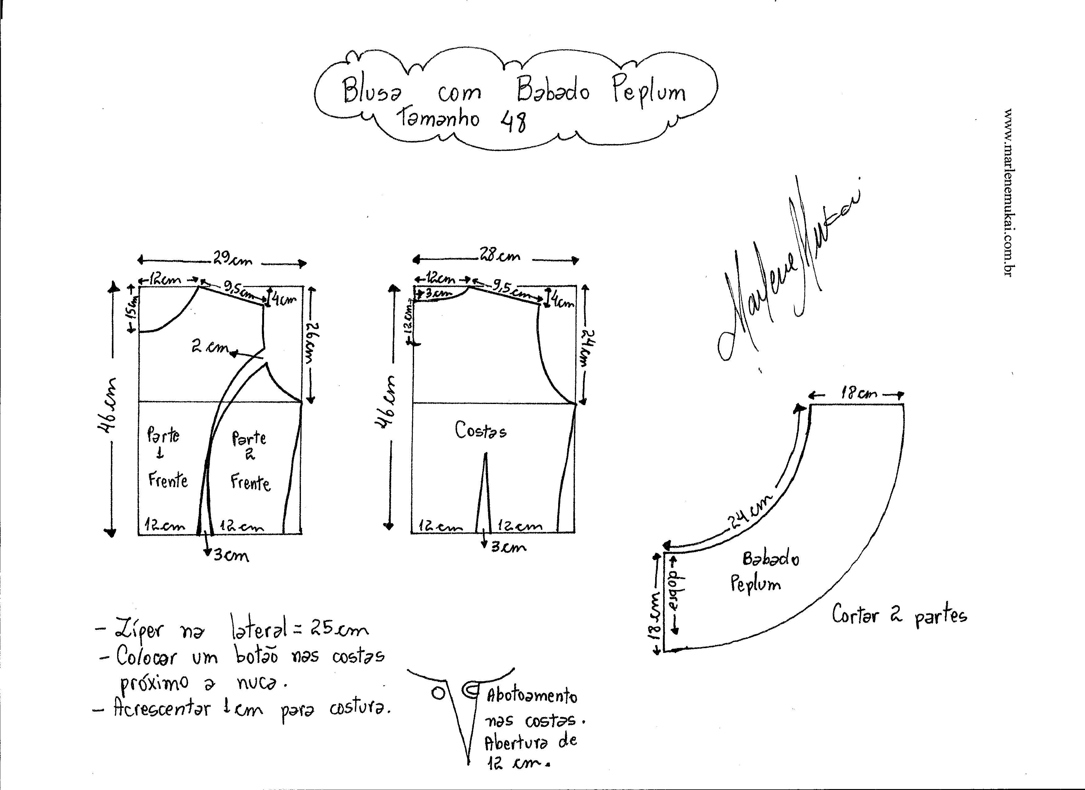 Выкройки басок для блузки