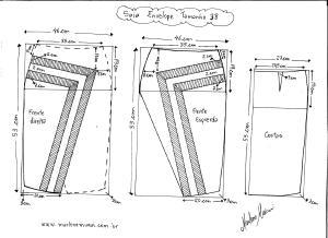 Molde de Saia Envelope com Detalhes tamanho 38.