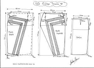 Molde de Saia Envelope com Detalhes tamanho  40.