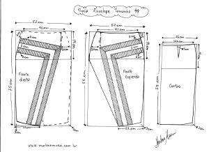 Molde de Saia Envelope com Detalhes tamanho 44.