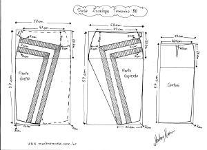 Molde de Saia Envelope com Detalhes tamanho 50.
